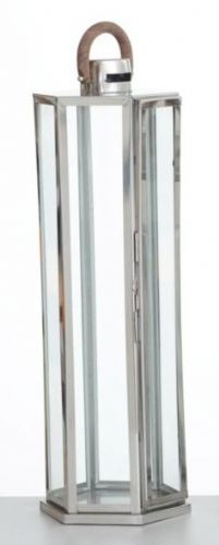 Hexagon Polished Stainless Steel Lantern Large